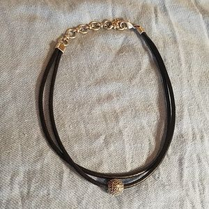 Lucky Brand leather and crystal choker